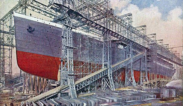 Titanic sister ship Britannic under construction in Belfast, from a contemporary postcard.