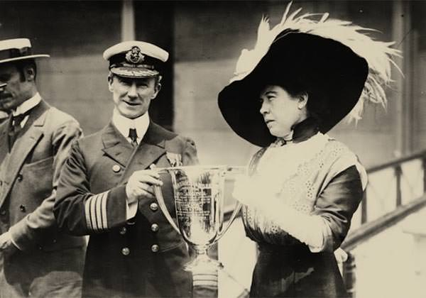 Margaret Molly Brown presents the trophy cup award to Captain Arthur Rostron of Carpathia, 29 May 1912.