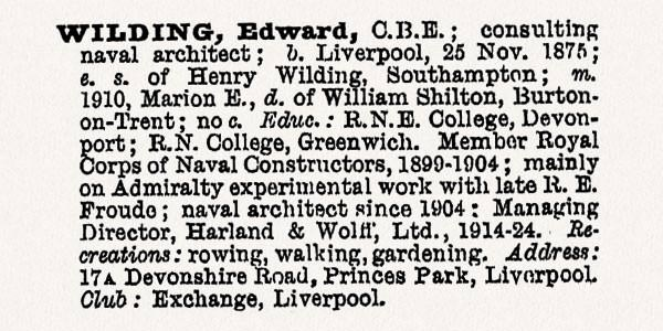 Entry for Edward Wilding in the 1926 edition of Who's Who.