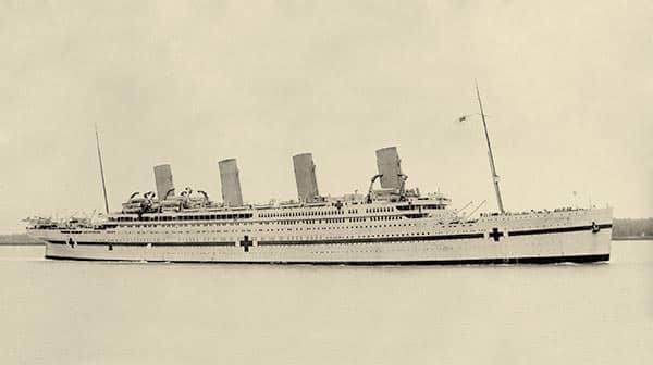 HMHS Britannic in her hospital ship livery.