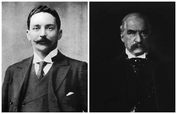 Portraits of J. Bruce Ismay, White Star Line chairman, and J. P. Morgan, financier.