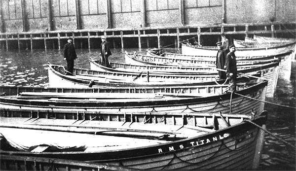 Lifeboats deposited at the White Star Line berth in New York by Carpathia, the ship that rescued Titanic survivors.