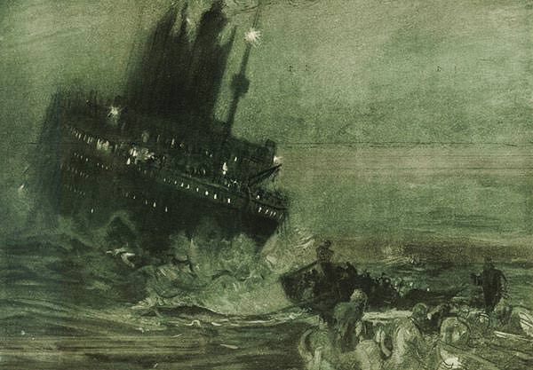Sinking of the Titanic drawn by Henry Reuterdahl, 1912