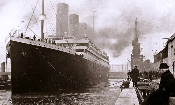 The Titanic at Southampton at the beginning of her maiden voyage.