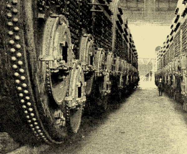 Boilers ready for installation in the Titanic. Note the size of the figure stood in the middle distance.