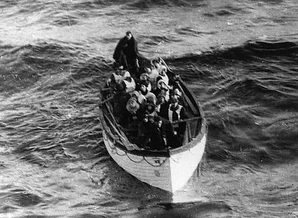 Titanic lifeboat number 6 photographed as she approached Carpathia.