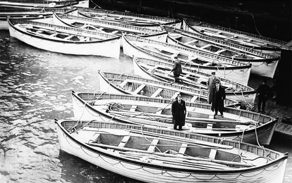 Titanic lifeboats at the White Star Line berth in New York, where they were deposited from Carpathia.
