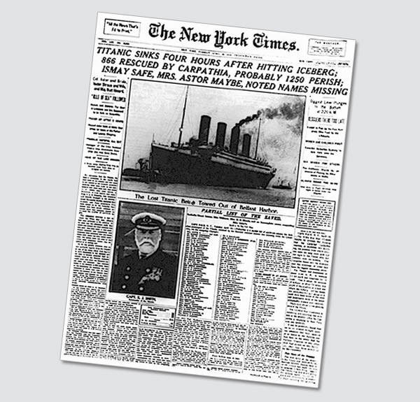 The New York Times front page story on the disaster