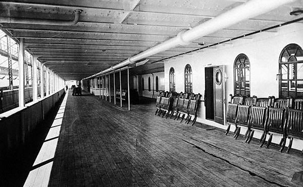 A photograph of the Promenade (A) Deck of the Titanic.